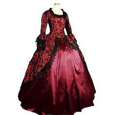 9139be26872e Rococò Vittoriano Medievale 18esimo secolo Squadrata Costume Per donna  Vestiti Vestito da Serata Elegante Stile Carnevale di Venezia Da  principessa Fuschia ...