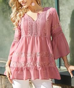 Loving this Dusty Rose Lace Tierd Swing Tunic - Plus Too on #zulily! #zulilyfinds