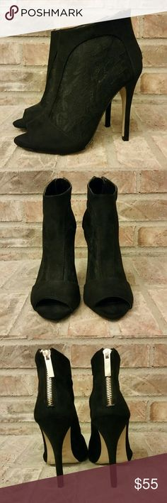 """Aldo Black Lace Heeled Booties Simply sexy peeptoe black lace booties with an approximate 4.5"""" heel when measured from the back. Gold tone back zipper accents the back. Very good, like new condition. Zipper is stiff. Bottom says 38 inside stamp says size 7.5.  NO TRADES. Aldo Shoes Heeled Boots"""