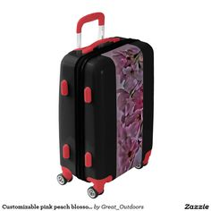 Customizable pink peach blossom luggage