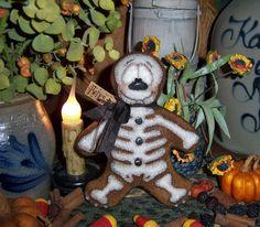 "Primitive Halloween Skeleton 6"" Goth Doll Patti's Ratties Bear Ghost Ornament"