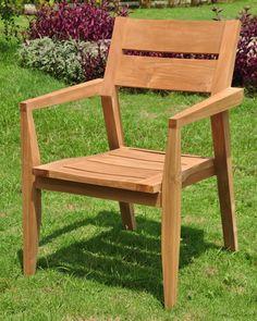 "Amazon.com : 7 PC A Grade Outdoor Patio Teak Dining Set - 60"" Rectangle Table & 6 Cellore Stacking Arm Chairs : Patio, Lawn & Garden"