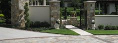 Pebble Junction Inc. - like stone on fence posts for courtyard