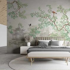 If your room is lacking some greenery, bring the outside in with this gorgeousDerous mural. A beautiful wisteria tree stands in front of a lake in a Japanese garden, surrounded by birds, creating a peaceful scene that would look great in a living room or bedroom. This design is available on our removable self-adhesive Self Adhesive Wallpaper, Wall Wallpaper, Pattern Wallpaper, Vinyl Wall Covering, Wisteria Tree, Dressing Room Design, Bird Tree, Traditional Wallpaper, Easy Install