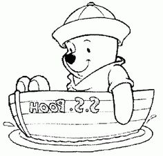 Boat Winnie The Pooh On SS Coloring Page