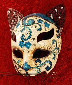 venetian mask luxury | luxury Venetian cat mask in blue | magical masquerade