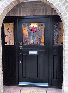 56 Best Ideas For House Front Door Art Nouveau Front Door Porch, Front Doors With Windows, Porch Doors, Wooden Front Doors, House Front Door, Glass Front Door, House Entrance, Entrance Doors, Doorway