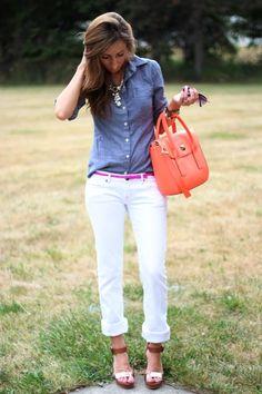 white pants, chambray top, pink belt