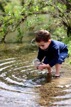 Finding tadpoles - the 3 of us kids used to do this a lot at various places & times!  What fun - we'd keep some & watch them turn into frogs!  Fascinating for little ones & big ones, too!