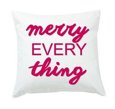 Bring the festive spirit of the holidays into your home with this playful throw pillow.  Available in 9 colors. A fun gift for a family.