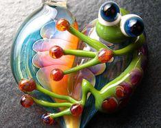 Ladybug Frog pendant glass heart lampwork jewelry by Boomwire
