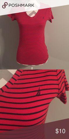 Nautica Striped Tee Nautical red/navy blue striped tee. Size Medium Nautica Tops Tees - Short Sleeve