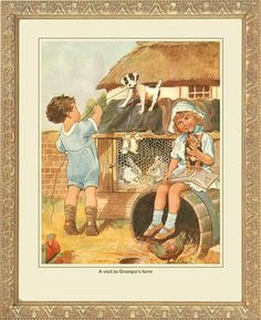 a visit to grandpa's farm vintage print. wall decor.