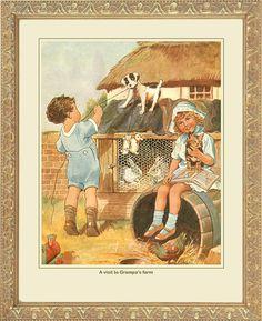 """""""A Visit to Grampa's Farm"""" print."""