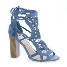 Luciana86 Braided Macrame Leg Wrap Stacked High Heel Sandals