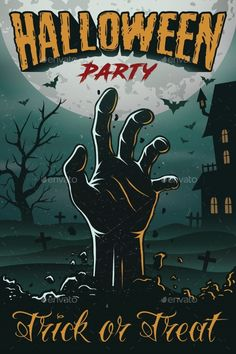 Halloween party poster with zombie s hand, house, tree and bats. foggy graveyard… Halloween party poster with zombie s hand, house, tree and bats. foggy graveyard landscape at night. Halloween Logo, Halloween Designs, Retro Halloween, Modern Halloween Decor, Halloween Party Poster, Halloween Vector, Halloween Drawings, Vintage Halloween Posters, Halloween 2019