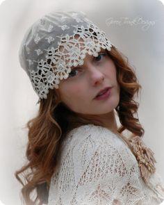 Lace Wedding Cap Veil 1920s Flapper Style by Green Trunk Designs #wedding #veil #1920's #
