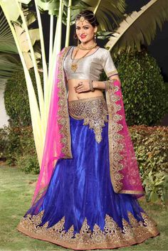 Blue Colour Net Fabric Party Wear A Line Lehenga Choli Comes With Matching Art Silk Blouse and Net Fabric Dupatta. This Lehenga Choli Is Crafted With Embroidery Work. It Is An Party Wear Lehenga Choli...