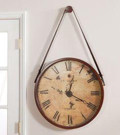 Large Antiqued Hanging Wall Clock Quartz Rustic Distressed Furniture Ivory Face #Round