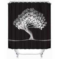 Tree of Life Polyester Shower Curtain Waterproof Mildew Polyester Shower Curtain with 12 Hooks