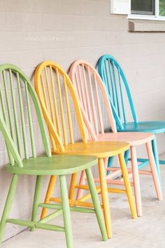 DIY Chalk Paint Furniture Ideas With Step By Step Tutorials - Colorful Chalk Painted Chairs - How To Make Distressed Furniture for Creative Home Decor Projects on A Budget - Perfect for Vintage Kitchen, Dining Room, Bedroom, Bath http://diyjoy.com/chalk-paint-furniture-ideas #repurposedfurniture #creativehomedecor #paintedfurnituredistressed #paintedfurnitureideas #chalkpaintedfurniture #paintingfurniture #vintagekitchen #homefurniture