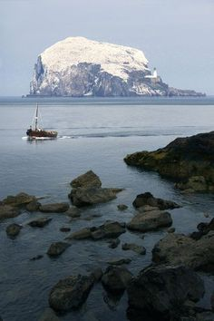 Bass rock island near North Berwick, East Lothian, Scotland