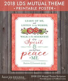 Peace In Me - 2018 LDS Mutual Theme Printable Scripture Poster