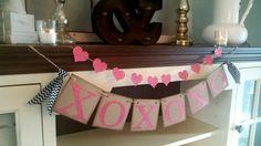 XOXO Banner, Valentines Day Decor, Valentines Day Banner, Heart Garland,Valentines Day Bunting, Valentines DayPhoto Prop