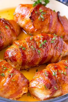 This bacon wrapped chicken is chicken breasts seasoned with brown sugar and spices, then wrapped in bacon and baked until caramelized.