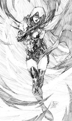 "Drawing Dc Comics league-of-extraordinarycomics: ""Raven by Philip Tan "" - Comic Book Artists, Comic Books Art, Comic Art, Character Drawing, Comic Character, Teen Titans Raven, Arte Dc Comics, Raven Comics, Univers Dc"