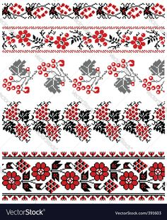 Vector image of Ukrainian embroidery ornament Vector Image, includes black, white, pattern, red & design. Illustrator (.ai), EPS, PDF and JPG image formats.
