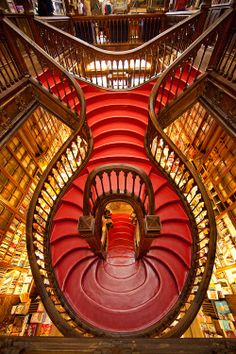 The staircase in the Lello Bookstore, Porto, Portugal, (first opened in 1906), photo by Jim Zuckerman