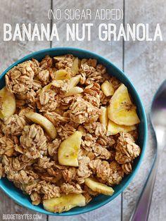 Sugar Added Banana Nut Granola Homemade granola without added sugar or oil. No Sugar Added Banana Nut Granola - Homemade granola without added sugar or oil. No Sugar Added Banana Nut Granola - Healthy Breakfast Recipes, Healthy Snacks, Healthy Eating, Snack Recipes, Cooking Recipes, Healthy Recipes, Breakfast Ideas, Banana Granola, Banana Nut