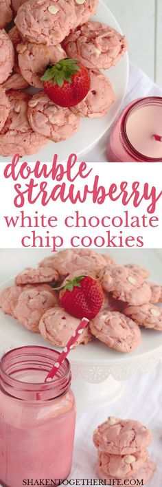 Double Strawberry White Chocolate Chip Cookies - these one bowl wonders start with a cake mix so they are as easy as they are delicious! (easy desert recipes with cake mix) Cookie Desserts, Just Desserts, Cookie Recipes, Delicious Desserts, Dessert Recipes, Yummy Food, Delicious Cookies, Cookie Ideas, Delicious Chocolate