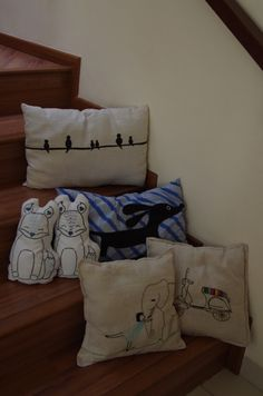 homemade cushions to cheer up the kids bedrooms