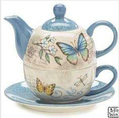 Butterfly tea pot set
