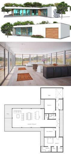 Plan de Maison Love the layout, but too modern. Could easily change the style.