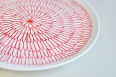 Hand Decorated White curved plate in geometric by perchdecor, $17.50