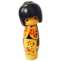 Vintage Japanese Kokeshi Doll ($58) ❤ liked on Polyvore featuring home, home decor, figurines, wooden figurines, wood home decor, wooden figure, wooden home decor and wood figure