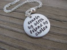 """Cousin Necklace- """"cousin by birth friend by choice"""" with an accent bead of your choice- Hand-Stamped Necklace"""