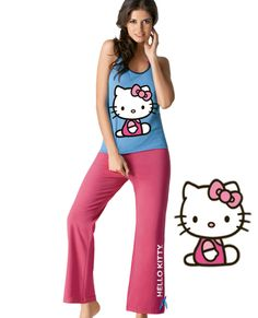 Pijama Tania 5868 Camiseta con estampado de Hello Kitty al frente 1ba9a2f403ce