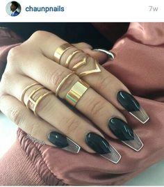 See Through Black Acrilic Nails
