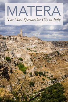 Matera is the most spectacular city in Italy, but most people haven't even heard of it. It's located in the region of Basilicata in southern Italy and the ancient neighbourhoods, known as sassi, are a series of grottoes carved out of limestone, teetering on the edge of a ravine. Staying in a cave hotel is a highlight of Matera. Click through for more photos and travel tips.