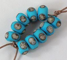 Silvered Ivory on Light Turquoise Lampwork Accent by tanyamcguire