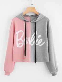 Shop Two Tone Print Front Drop Shoulder Hoodie online. SheIn offers Two Tone Print Front Drop Shoulder Hoodie & more to fit your fashionable needs. Hoodie Sweatshirts, Pullover Hoodie, Cropped Hoodie, Sweater Hoodie, Hoodies, Sweatshirts Online, Hoodie Outfit, Teen Fashion Outfits, Stylish Outfits