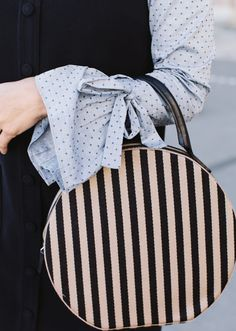 love this polka dot and stripe look from damsel in dior Fashion Bags, Fashion Beauty, Fashion Accessories, City Fashion, Chuck Taylors, Ysl, Black And White Outfit, Prada Handbags, Shopper