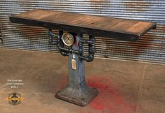 Steampunk Industrial / Antique Machinery Base and Top / Steam Gauge / Table / Console / sold