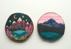Miniature Oil Landscape Paintings on Cedar Blocks by Cathy McMurray