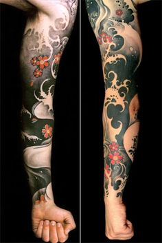 I really like this Japanese tattoo. Love the waves and flowers and the color choices. Overall a really great tattoo. #CuratedTattoo