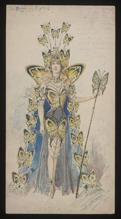 Costume design by Alfredo Edel for La Reine des Papillons in an unidentified production, Museum Number Vintage Circus Costume, Vintage Costumes, Vintage Images, Vintage Art, Costume Design Sketch, Creepy Images, Occult Art, Vintage Gowns, Fashion Painting